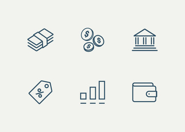 6 Money Vector Icons