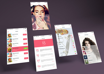 App Multiple  Screens Showcase Mockup Vol.7