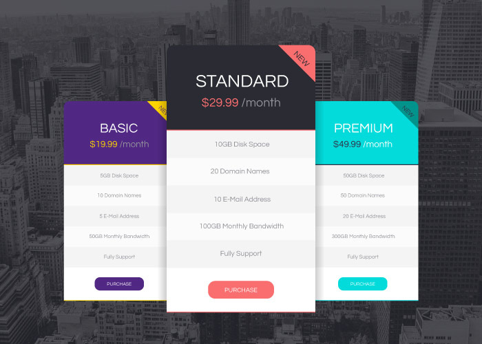 vector pricing tables design